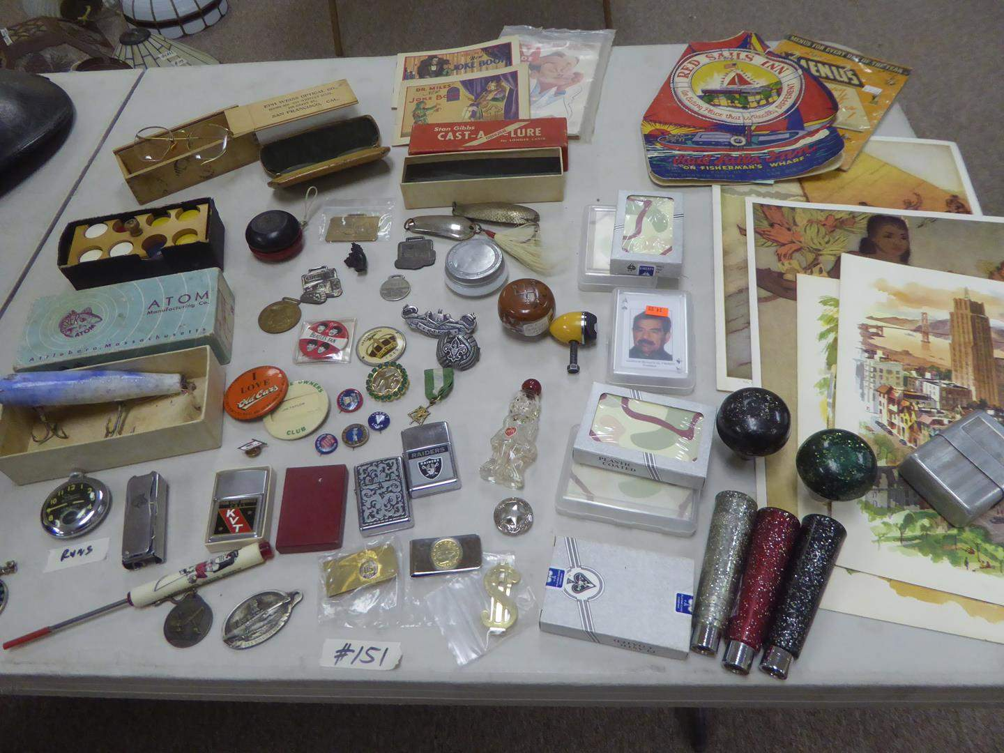 Lot # 151 - Biltmore Pocket Watch, Lighters, Money Clips, Handles, Button Pins, Vintage Menus & More (main image)
