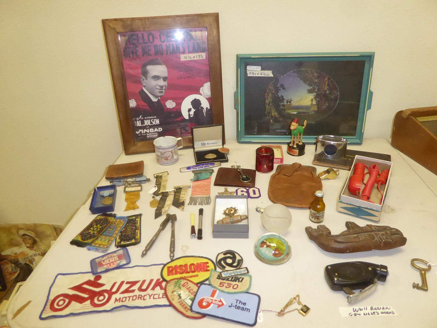 Lot # 153 - Russian WWII Lite, Ford Travel Light, Patches, Ribbons, Picture Tray, Framed Print & More (main image)