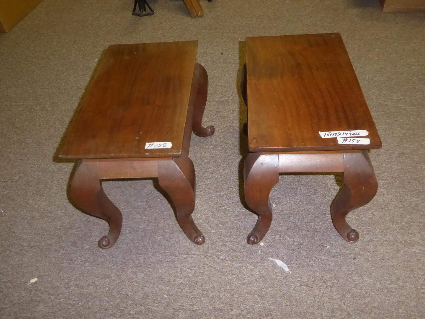 Lot # 158 - Pair Small Solid Wood End Tables (main image)