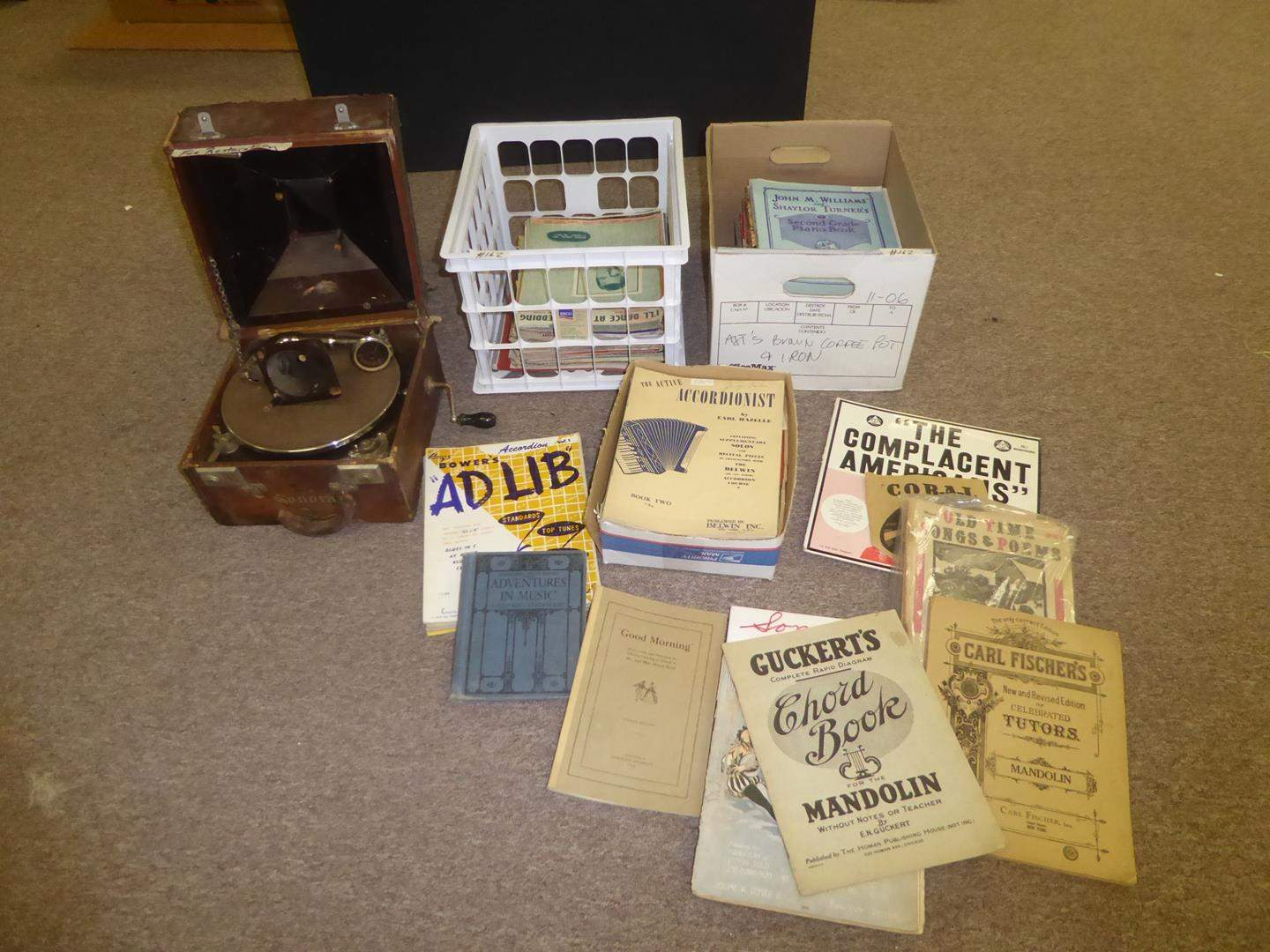 Lot # 162 - Vintage Sonora Phonograph Record Player (For Restoration) & Vintage Music Books (main image)