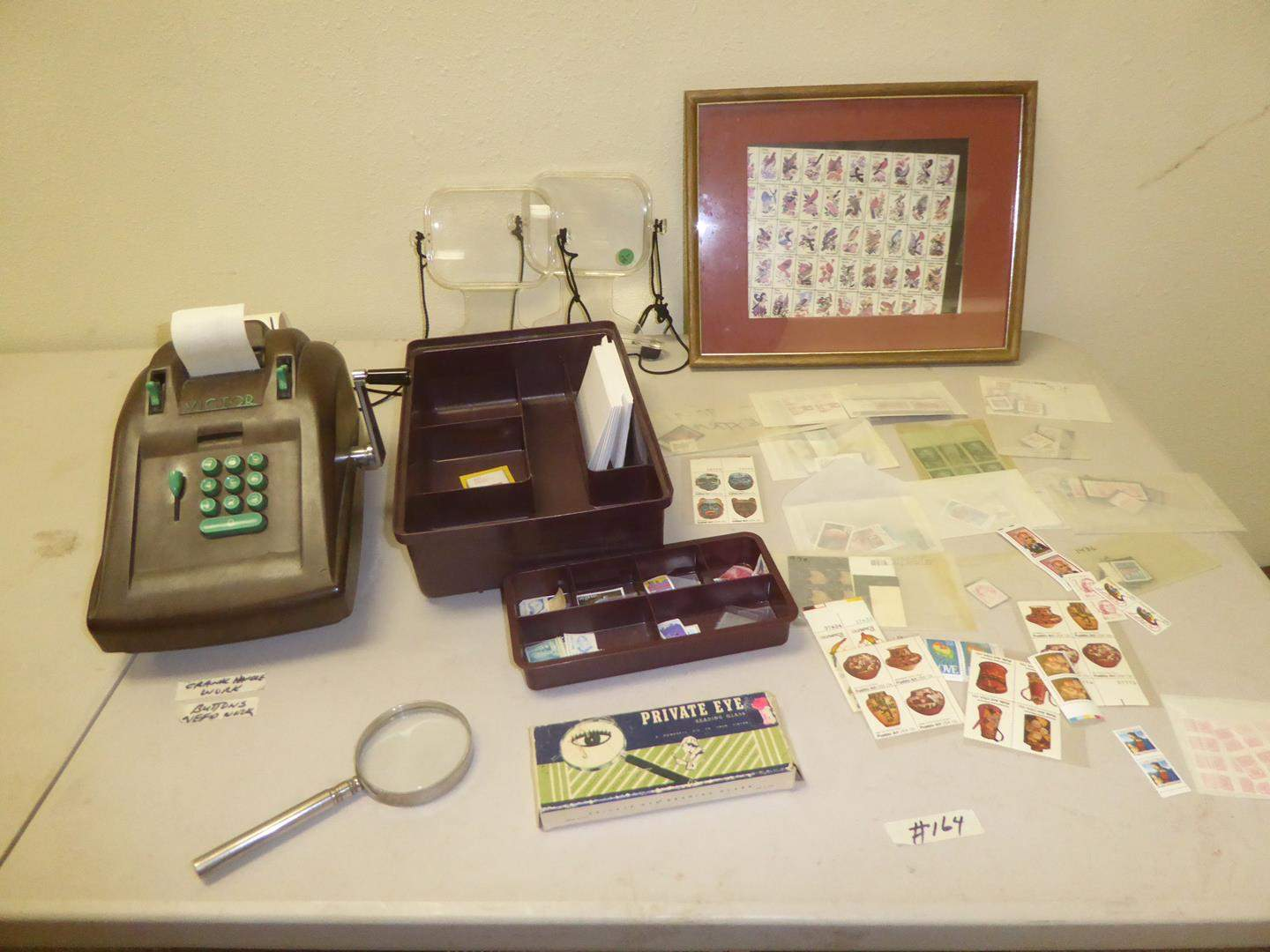 Lot # 164 - Vintage Victor Adding Machine, Magnifying Glasses & USA Collectible Stamps (main image)