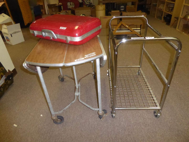 Lot # 165 - Vintage Original Fiberglas Luggage by Koch, Rolling Metal Cart & Drop Leaf Industrial Table on Wheels (main image)