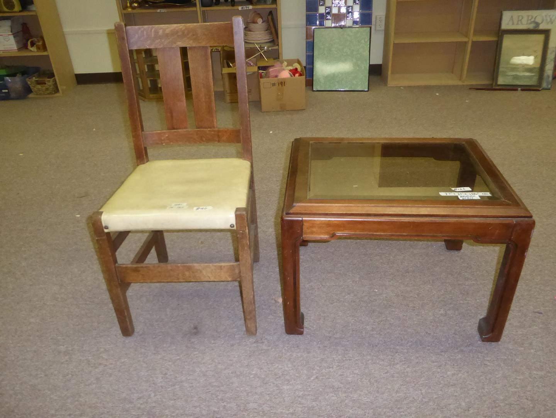 Lot # 166 - Vintage Slat Back Side Chair & Beveled Glass Top Wood Framed End Table (main image)