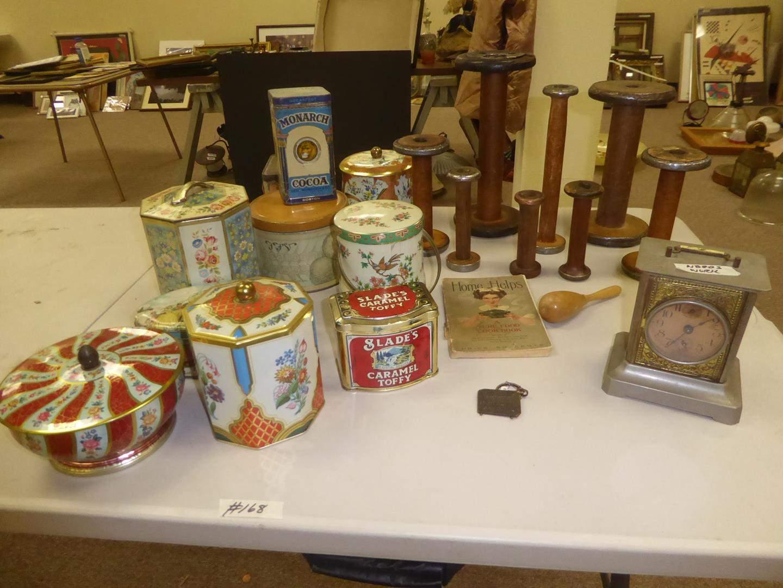 Lot # 168 - Vintage Tins, Bobbins & Clock (main image)
