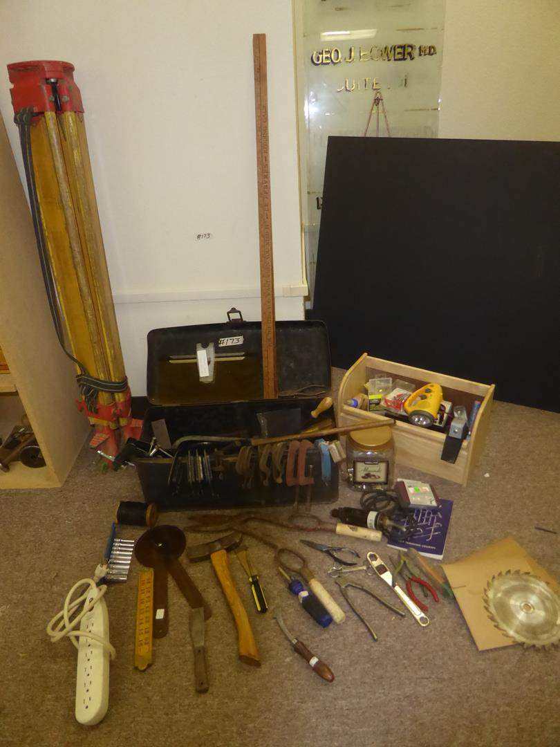Lot # 173 - Vintage Tripod Transit, Clamps & Misc. Tools (main image)
