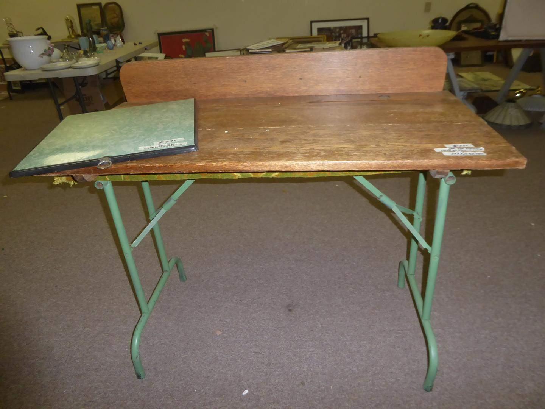 Lot # 225 - Vintage Porcelain Metal Stove Top Cover & Makeshift Oak Top Sitting on Metal Folding Table Legs (main image)