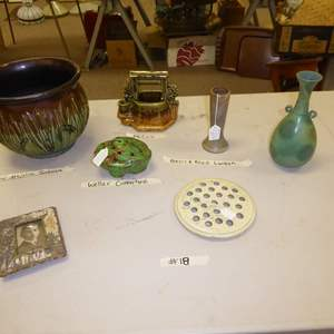 Auction Thumbnail for: Lot # 18 - Pottery (McCoy Majolica Jardiniere, Weller, Peters & Reed & More)