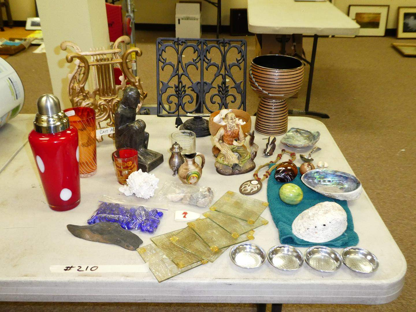 Lot # 210 - Vintage Glassware, Cast Metal Music Holders & Pottery (main image)