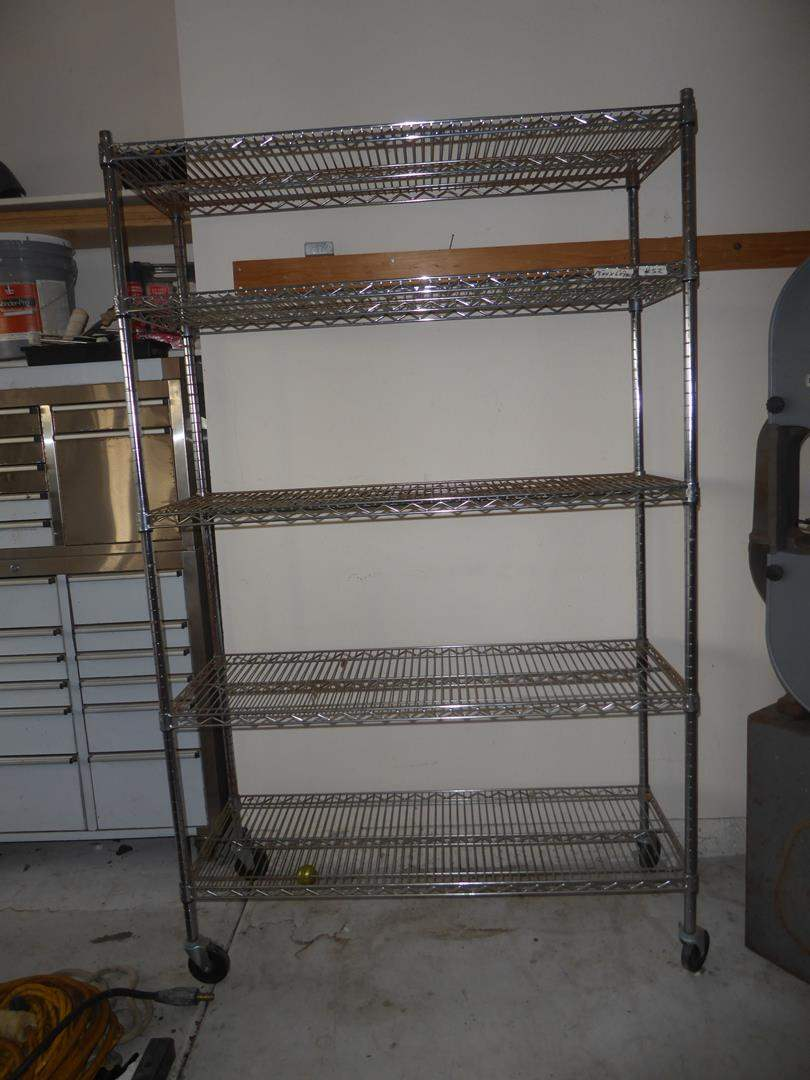 Lot # 52 - 5 Tier Metal Wire Shelving Unit on Wheels (main image)