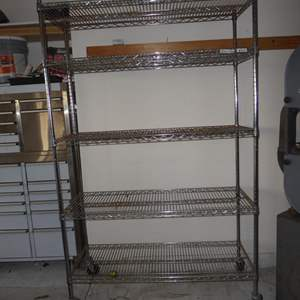 Auction Thumbnail for: Lot # 52 - 5 Tier Metal Wire Shelving Unit on Wheels