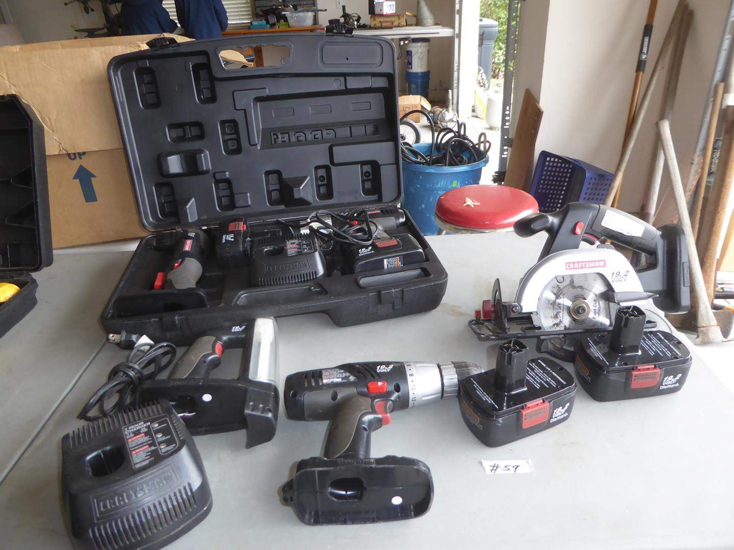 Lot # 59 - 'Craftsman' Drill Drivers, Light, Trim Saw, Batteries & Charger (main image)