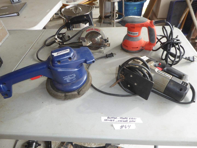 Lot # 64 - Electric Buffer, Sabre Saw, Sander & Circular Saw (main image)