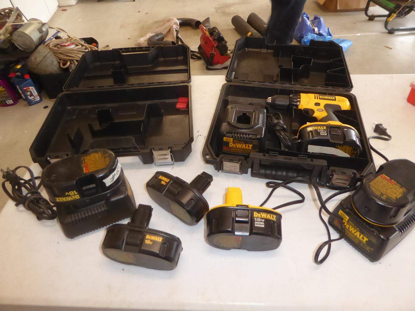 Lot # 60 - 'DeWalt' 18v Drill, 6 Batteries, 3 Battery Chargers & Two Cases (main image)