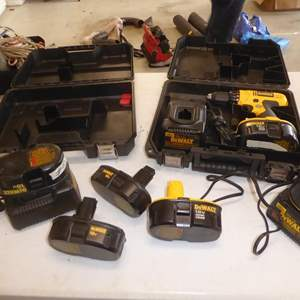 Auction Thumbnail for: Lot # 60 - 'DeWalt' 18v Drill, 6 Batteries, 3 Battery Chargers & Two Cases