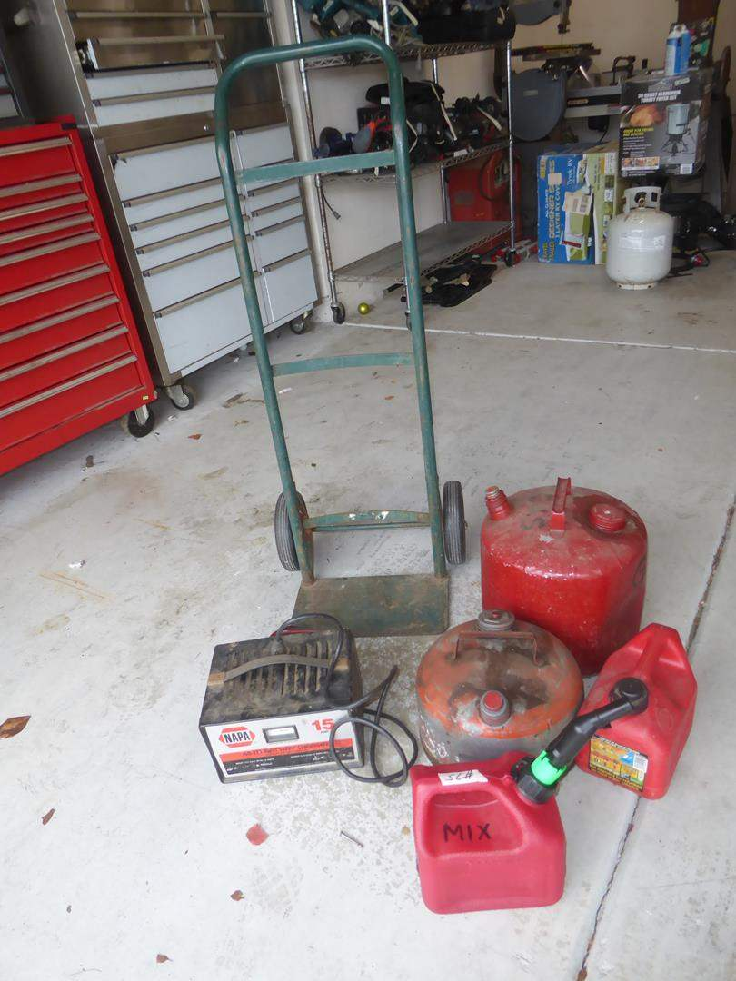 Lot # 75 - Hand Truck, Battery Charger & Gas Cans (main image)