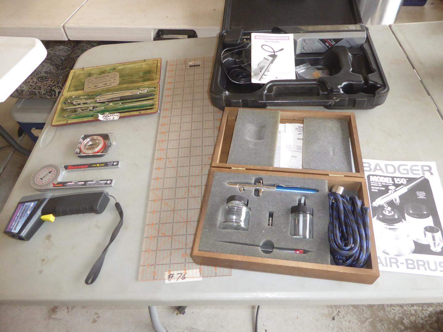 Lot # 76 - Vintage Drafting Tools, Infrared Thermometer, Refrigerant Leak Detector, Air-Brush Kit & More (main image)
