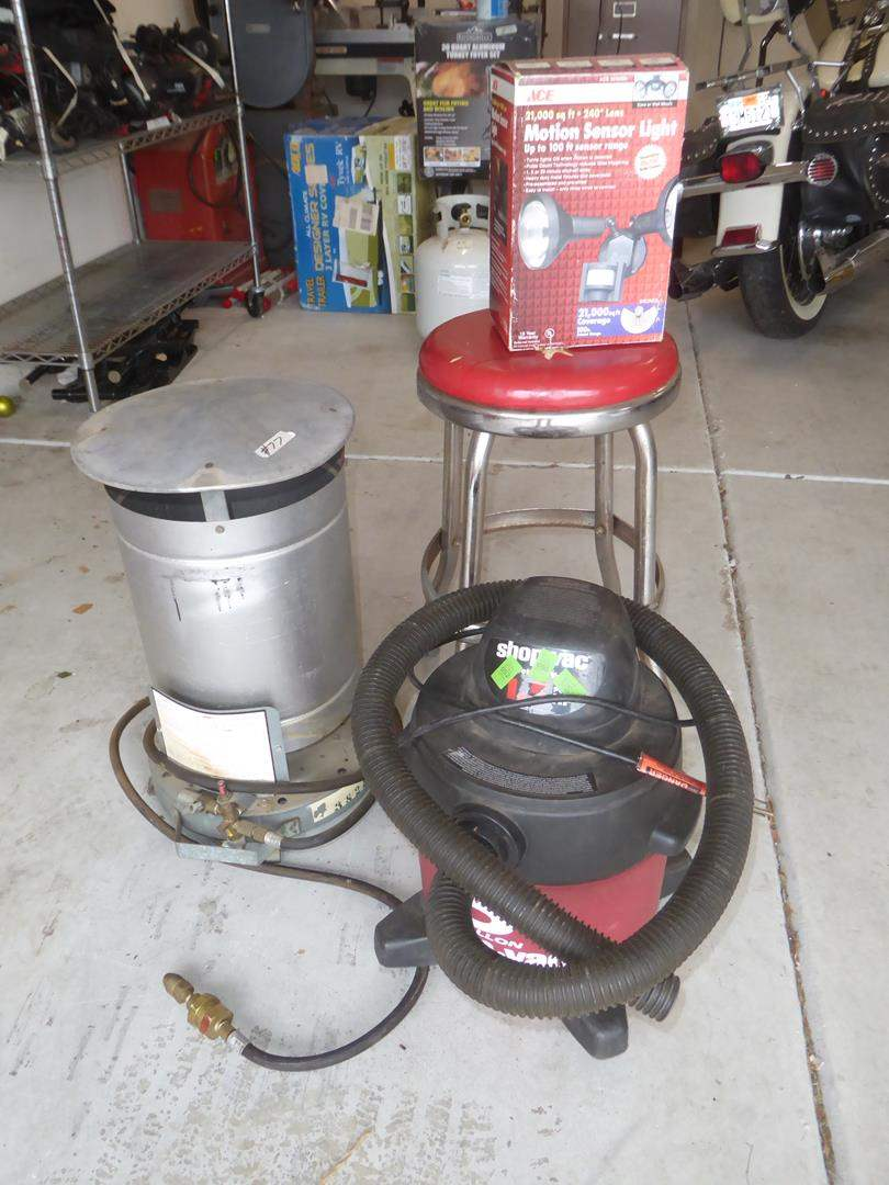 Lot # 77 - 5 Gallon Shop Vac, Propane Heater, Motion Sensor Light & Shop Stool (main image)