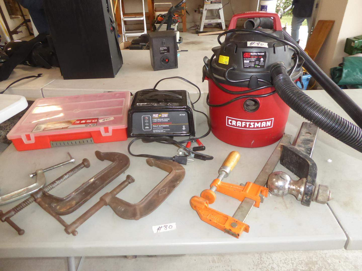 Lot # 80 - 'Craftsman' 2.5 Gallon Shop Vac, Battery Charger, Tire Pressure Gauges, Clamps & Hitch Receiver  (main image)