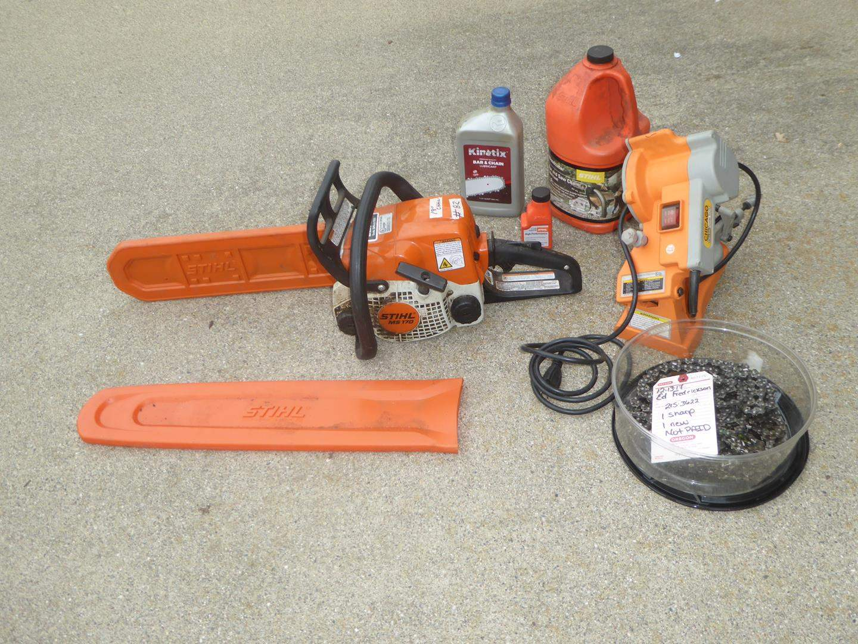 Lot # 82 - 'Stihl' MS 170 Chainsaw, Extra Chain & Chainsaw Sharpener (main image)