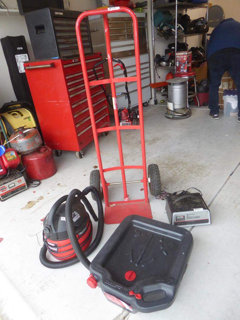 Lot # 79 - 'Craftsman' Shop Vac, Battery Charger, Hand Truck & Drain Container (main image)