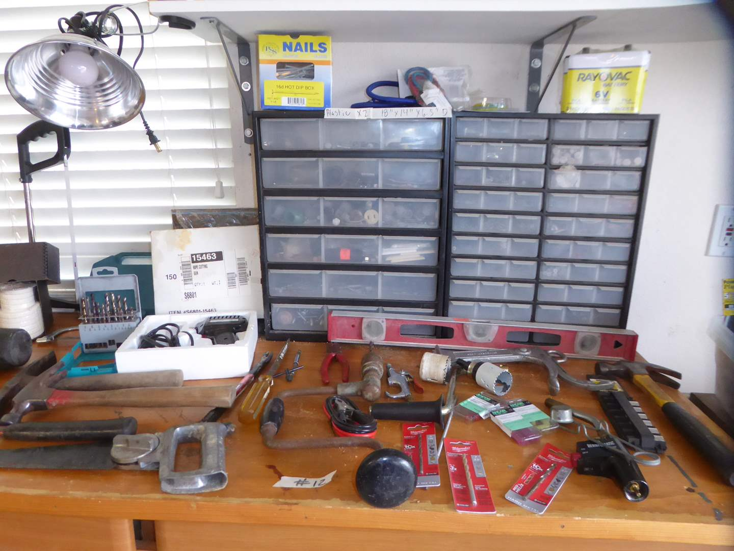 Lot # 12 - Plastic Storage Containers, Batteries, Light, Tools & Hardware   (main image)