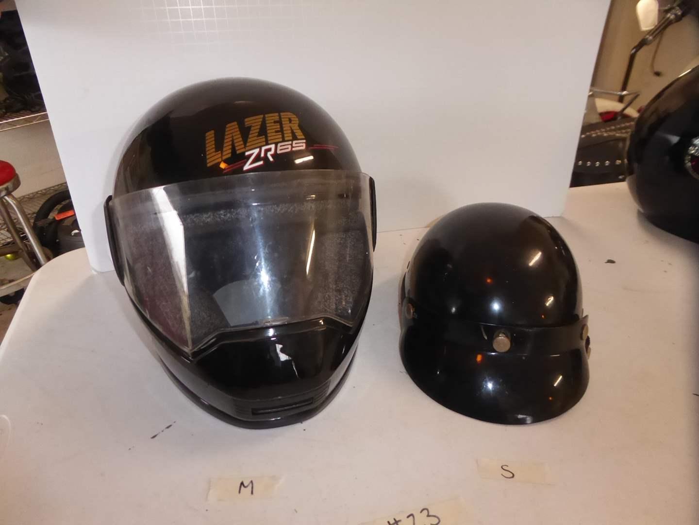 Lot # 23 -  M Lazer XR65 Helmet & Small 1/2 Helmet  (main image)