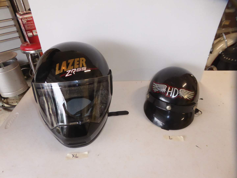 Lot # 24 - XL Lazer XR65 Helmet & Large 1/2 Helmet W/HD Logo  (main image)