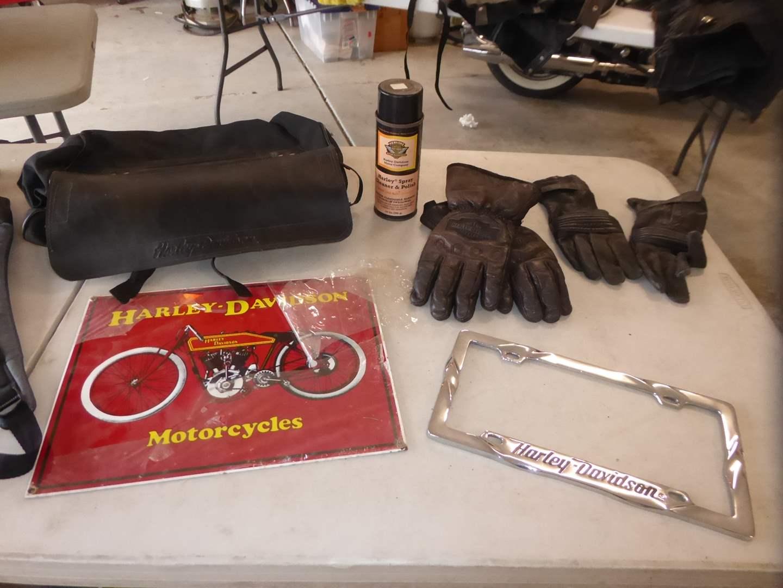Lot # 25 - Harley Davidson Leather Bag, Gloves & Metal Sign  (main image)