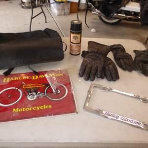 Auction Thumbnail for: Lot # 25 - Harley Davidson Leather Bag, Gloves & Metal Sign