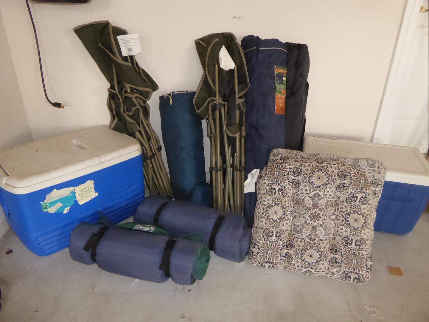 Lot # 2 - Camping Lot- ( Ice Chest, Nice Folding Chairs, Coleman Sleeping Mats and Tent) (main image)