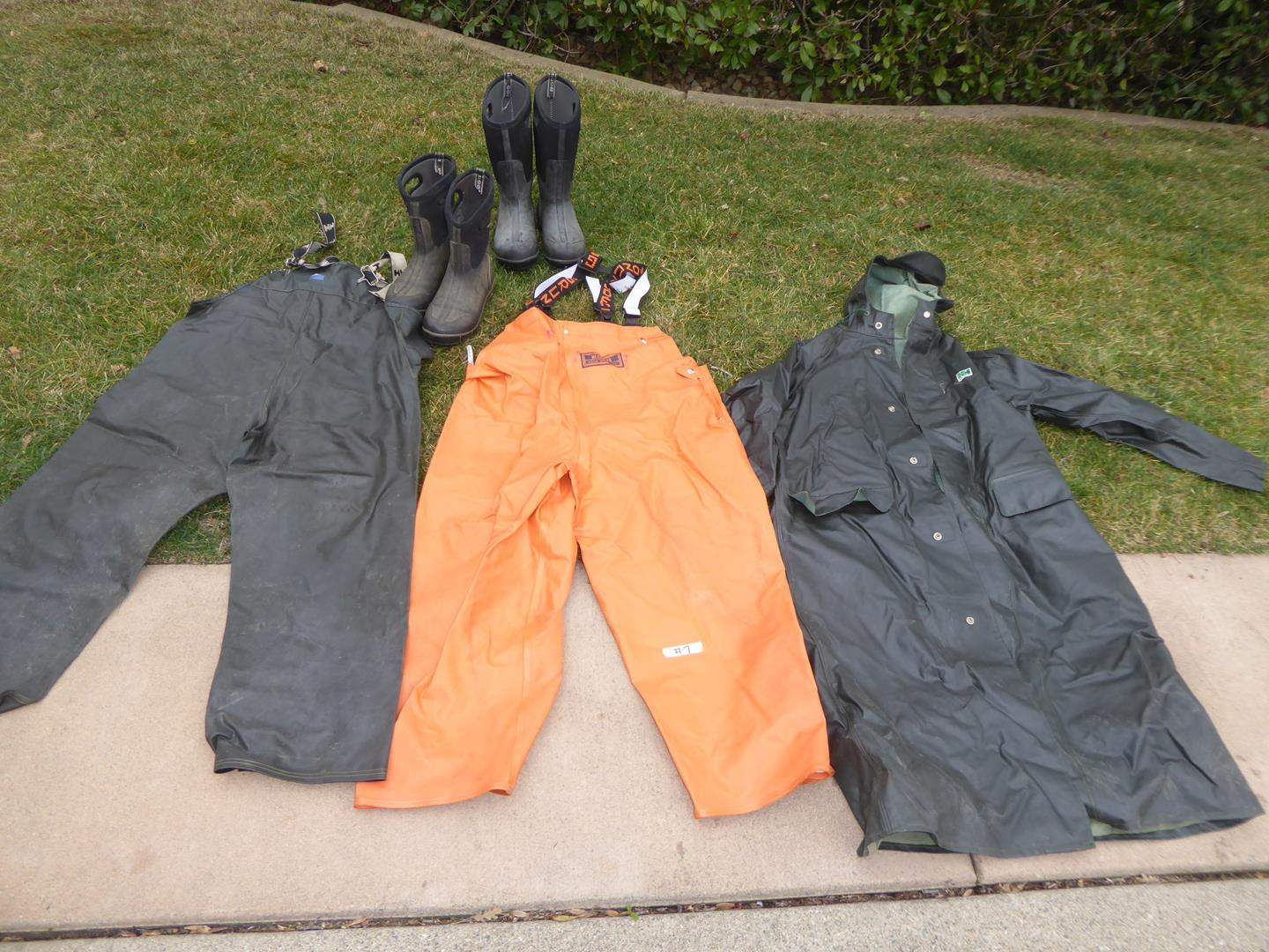 Lot # 7 - Helly Hansen and Briggs Industrial Rain Gear(Men's Size Medium)-Bogs Rain Boots (Men's size 8)  (main image)