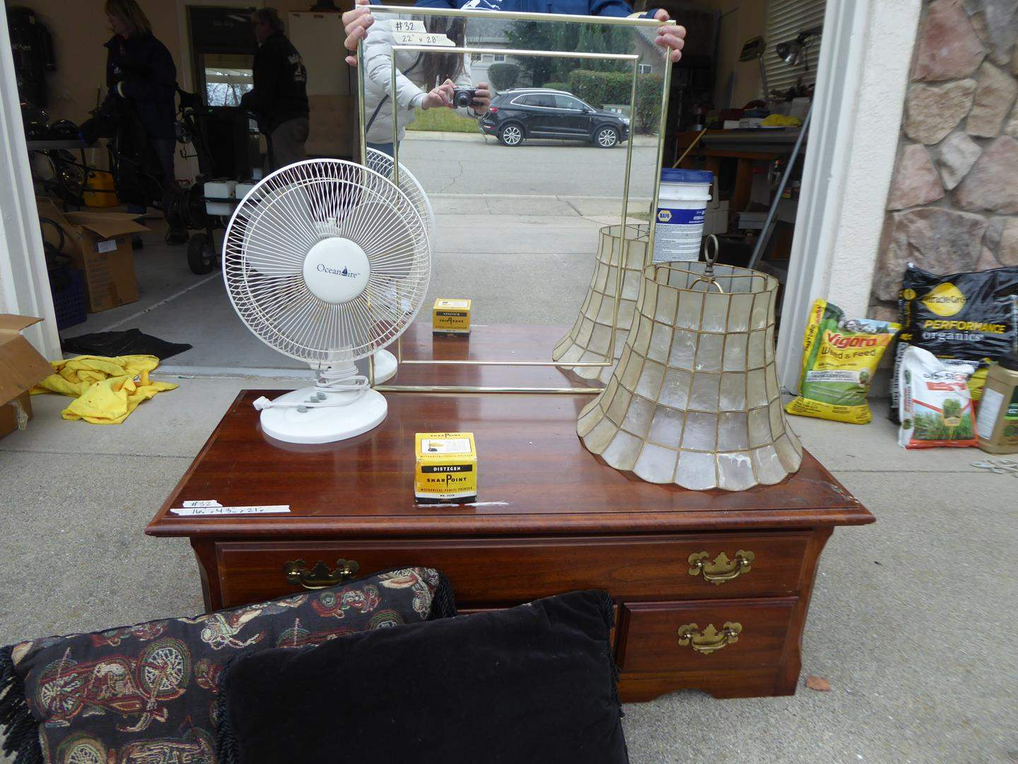 Lot # 32 -Variety Lot- Cute Wood Storage w/ Drawers-Fan- Lamp Shade- Pillows and Mirror (main image)