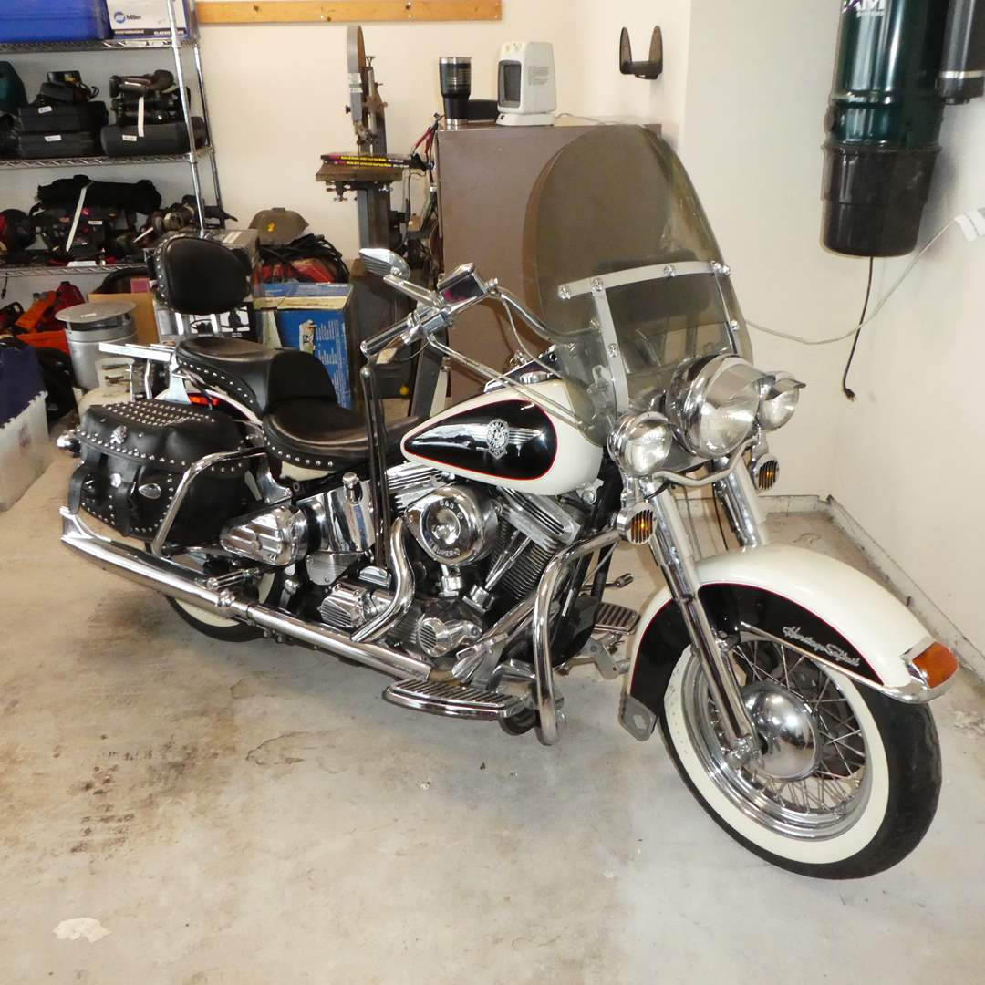 """Lot # 95 - Collectors """"1993 Harley Davidson Heritage Softail Nostalgia Cow Glide""""  #131 of 2700 made (main image)"""