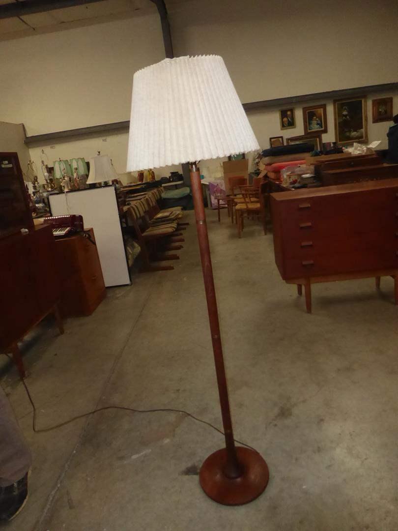 Lot # 64 - Vintage Mid Century Danish Modern H. Passke Turned Teak Floor Lamp (main image)