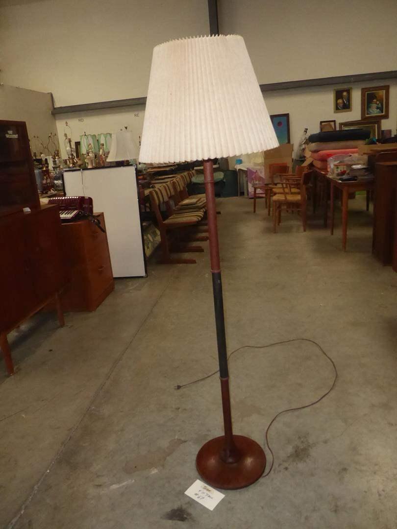 Lot # 67 - Vintage Mid Century Danish Modern H. Passke Turned Teak Floor Lamp (main image)