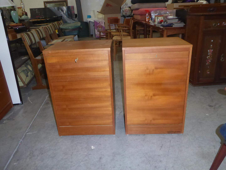 Lot # 72 - Two Vintage Mid Century Danish Teak File Cabinets w/One Key (main image)