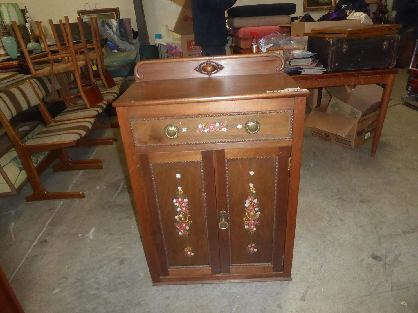 Lot # 74 - Wonderful Antique Solid Wood Hand Painted Cabinet (dovetailed drawer) (main image)