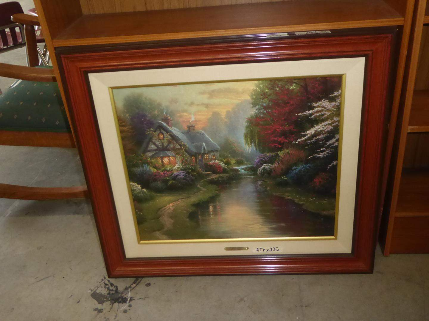 """Lot # 79 - Framed Enhanced Print on Canvas """"A Quiet Evening"""" by Thomas Kinkade (main image)"""
