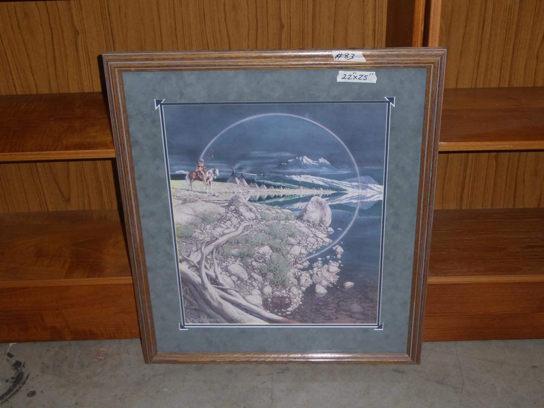 "Lot # 83 - Framed Bev Doolittle Signed Numbered Print ""THE SENTINEL""-Indian-Native American-Horses-Camouflage (main image)"