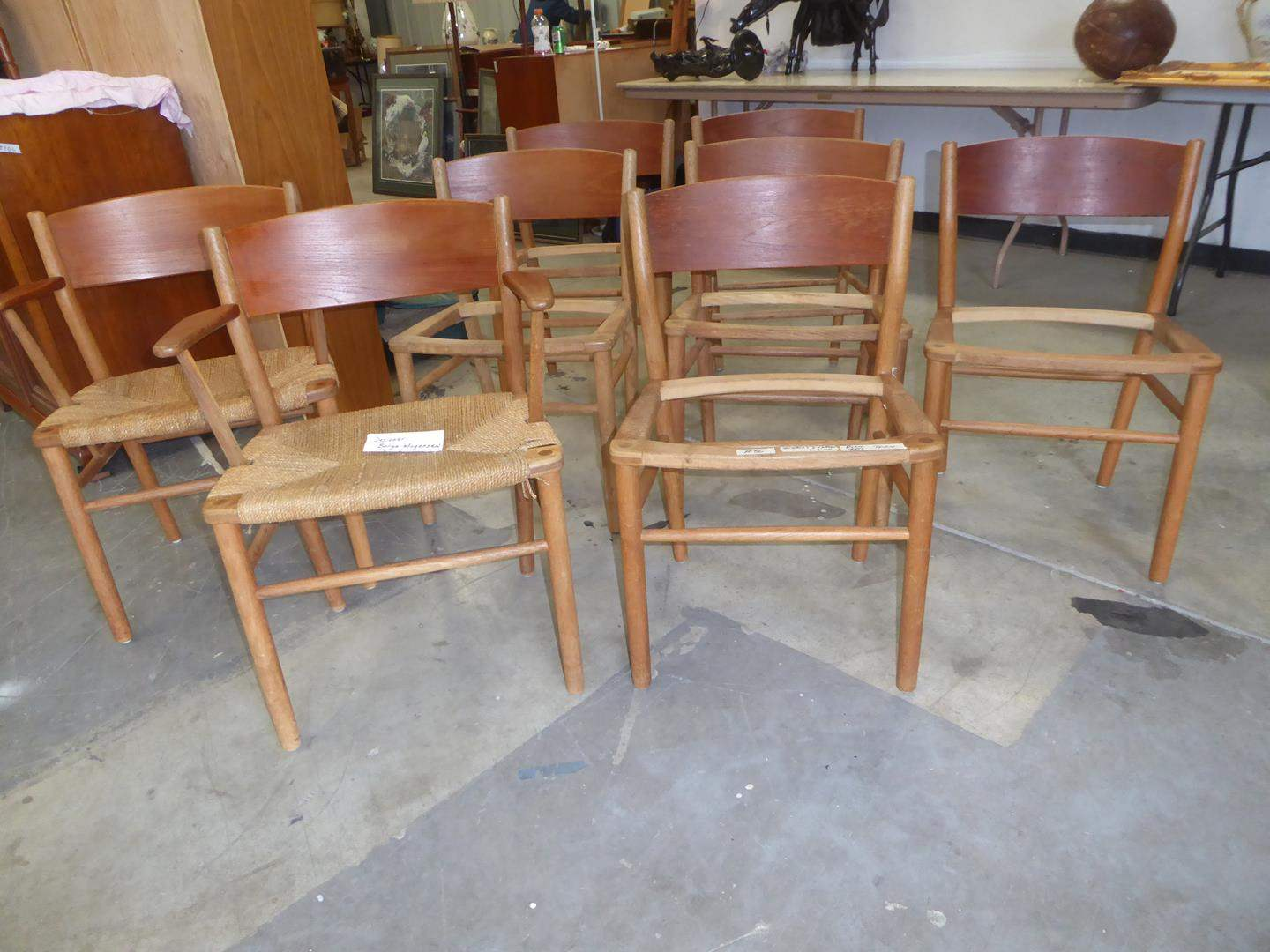 Lot # 86 - Eight Mid Century 'Borge Mogensen' for Soborg Mobler Danish Dining Multi Colored Chairs w/Rush Seats (main image)