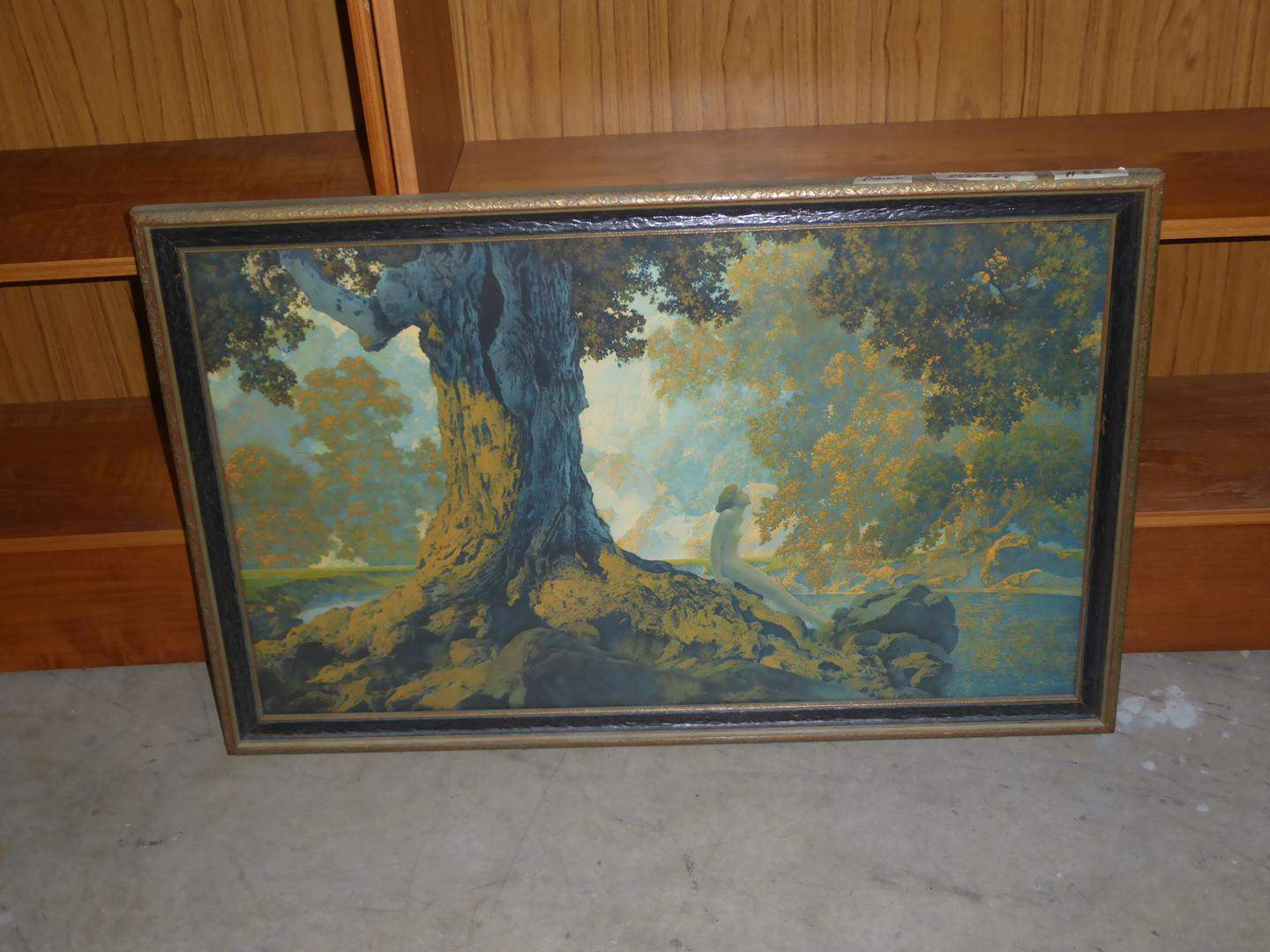 """Lot # 88 - Framed Vintage Print """"Trees Lady Stream"""" by Maxfield Parrish (main image)"""