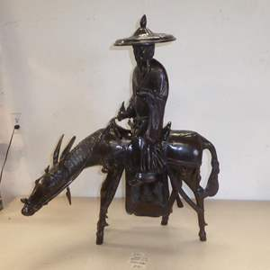 Auction Thumbnail for: Lot # 90 - Asian Man on a Donkey Sculpture Metal w/Bronze Finish - Two Piece - Toyo Japan