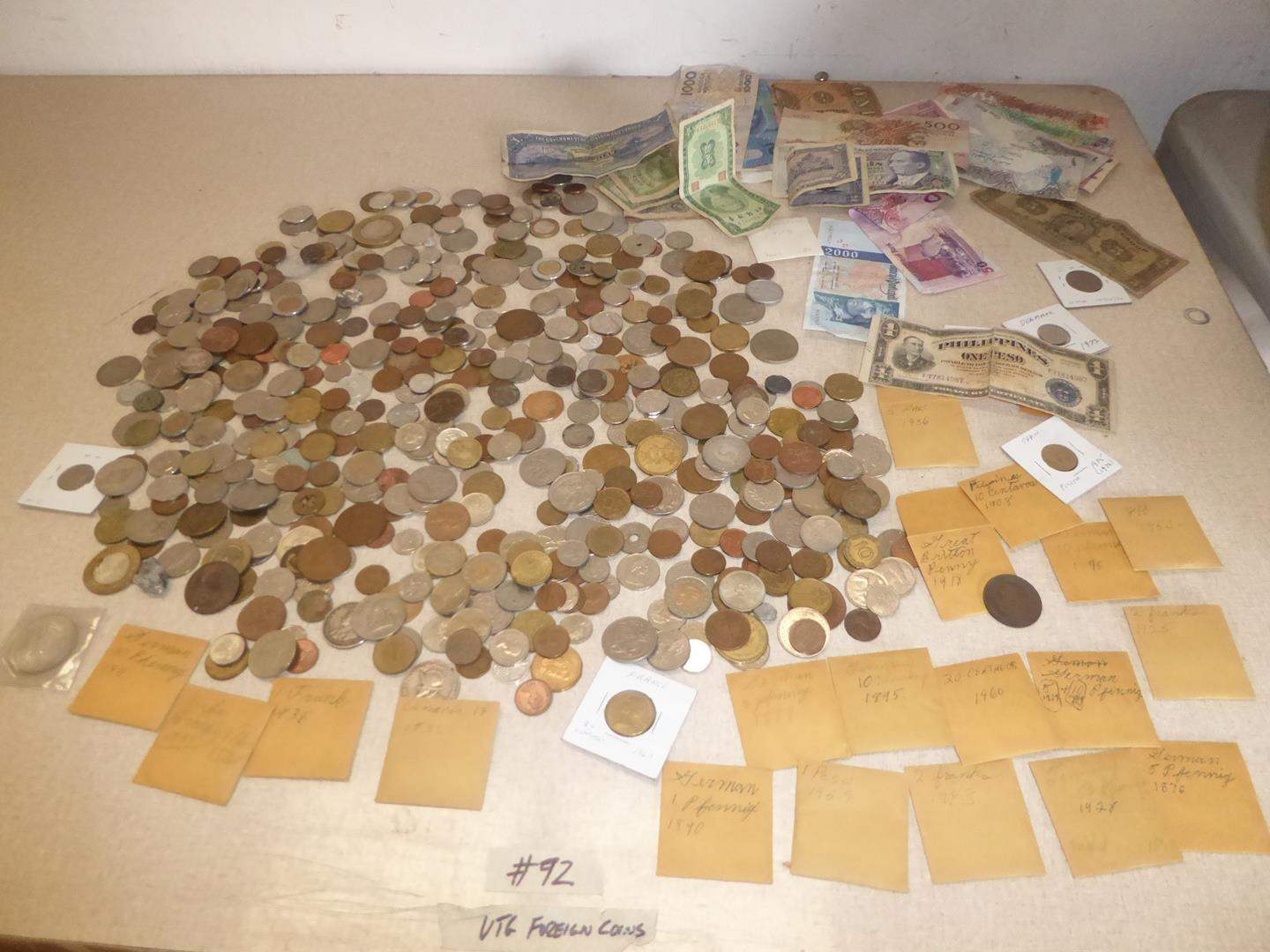Lot # 92 - Vintage Foreign Coins & Currency (main image)