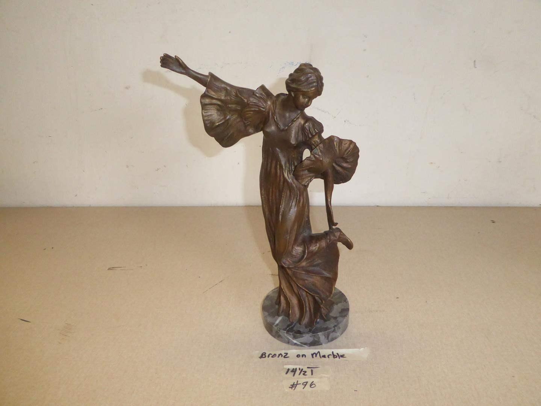 Lot # 96 - Vintage Bronze Lady Sculpture on Marble Base (main image)