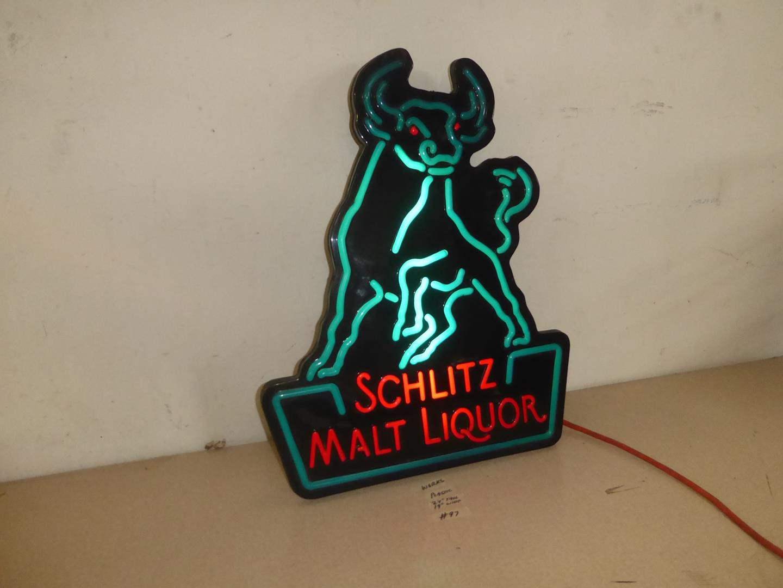 Lot # 97 - Schlitz Malt Liquor Bull Advertising Light Up Beer Sign (main image)