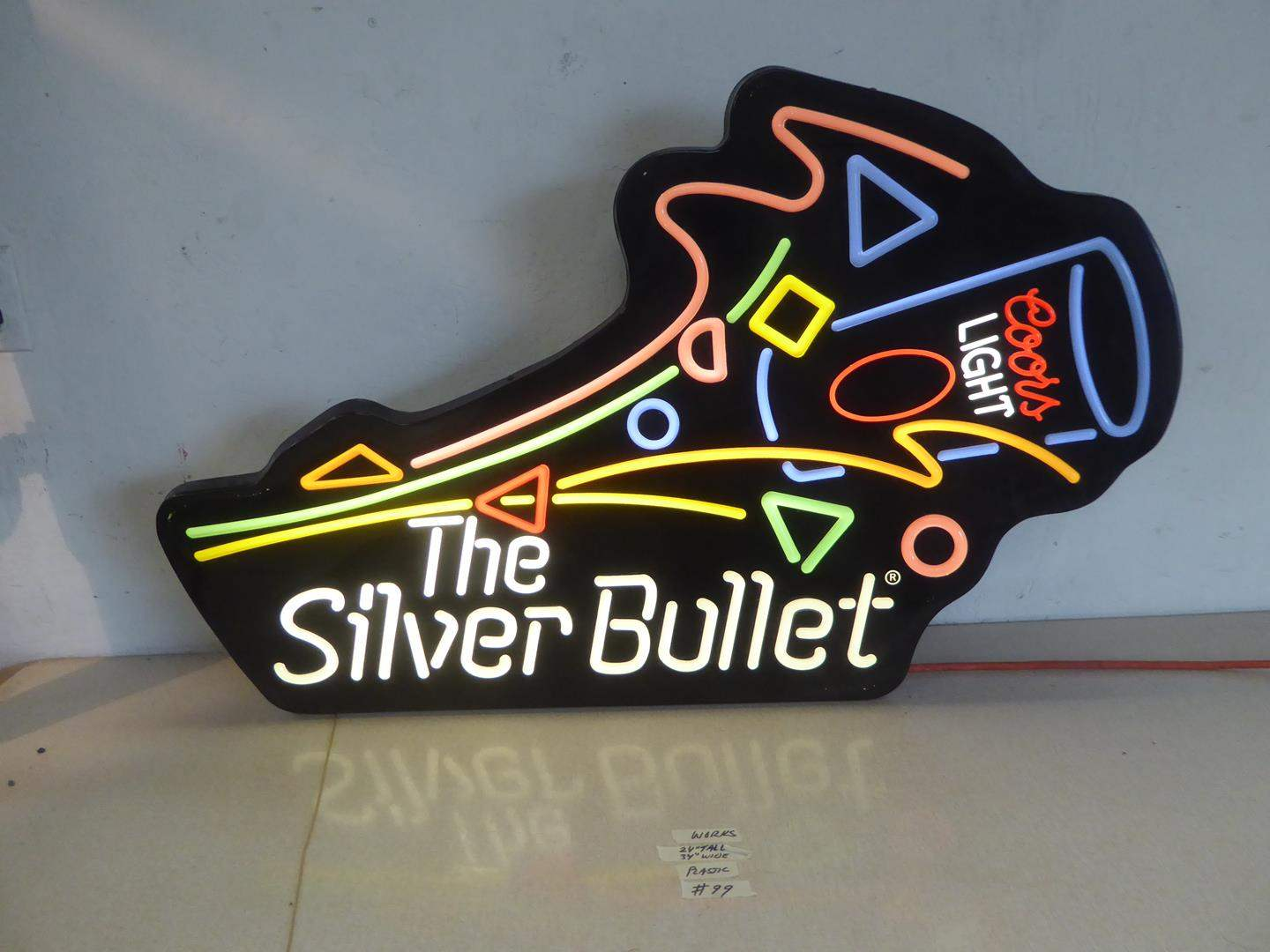 Lot # 99 - Coors Light The Silver Bullet Advertising Light Up Beer Sign (main image)