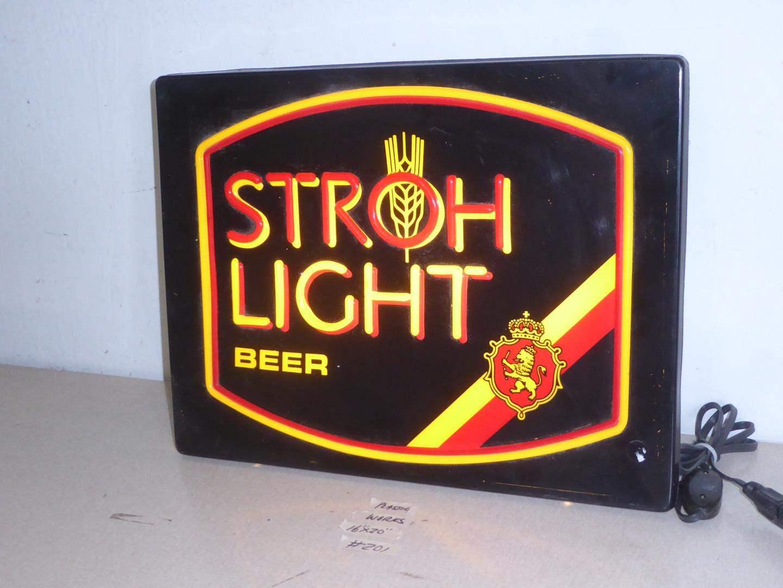 Lot # 201 - Stroh Light Beer Advertising Light Up Sign (main image)
