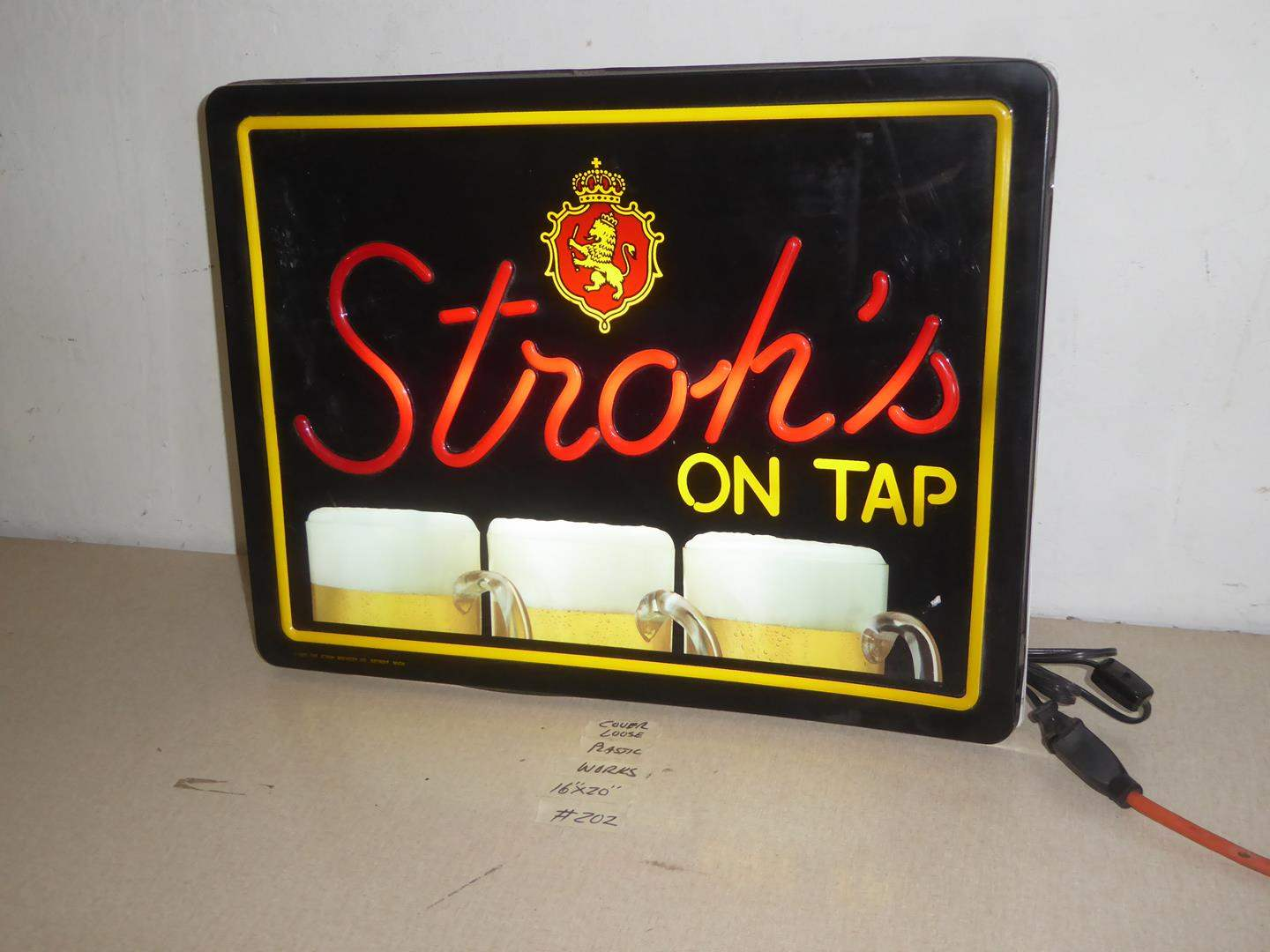 Lot # 202 - Stroh's On Tap Beer Advertising Light Up Sign (main image)