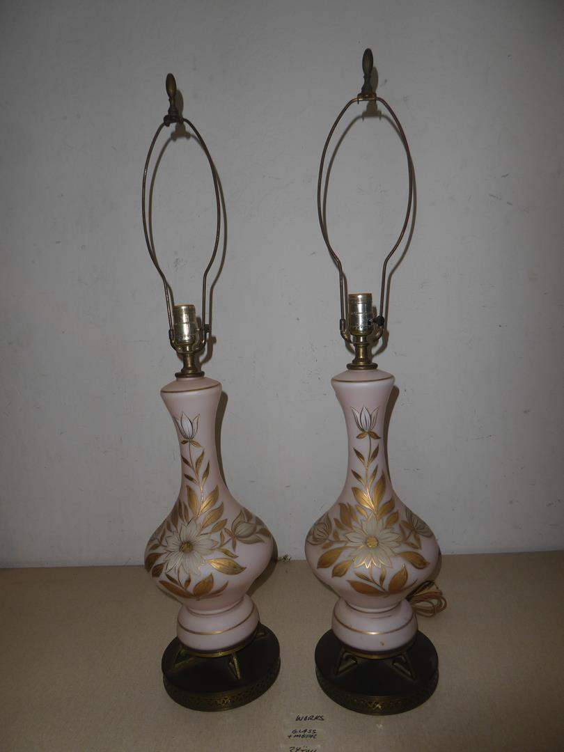 Lot # 203 - Two Vintage German Lamps, White Frosted, Hand Painted, West Germany Sticker  (main image)