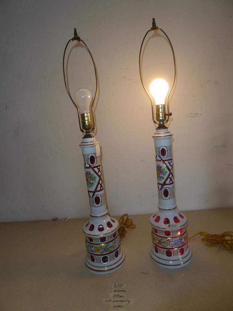 Lot # 204 -Pair of Vintage Bohemian Czech Crystal White Cut to Cranberry Glass Table Lamps (main image)